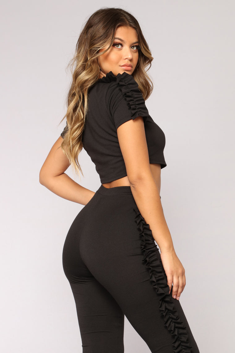 Ruffle Trouble Set - Black