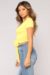 Over The Top Surplice Top - Yellow