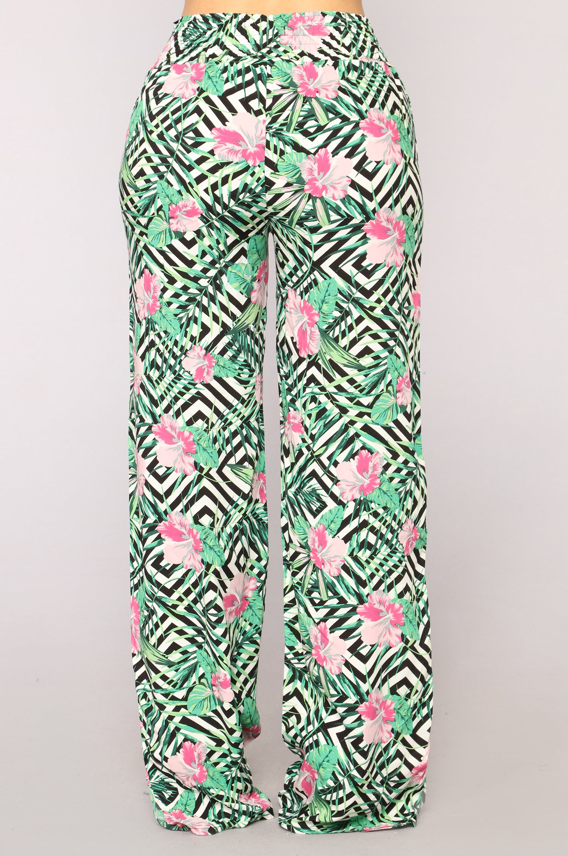 Stripes And Flowers Pants Pink