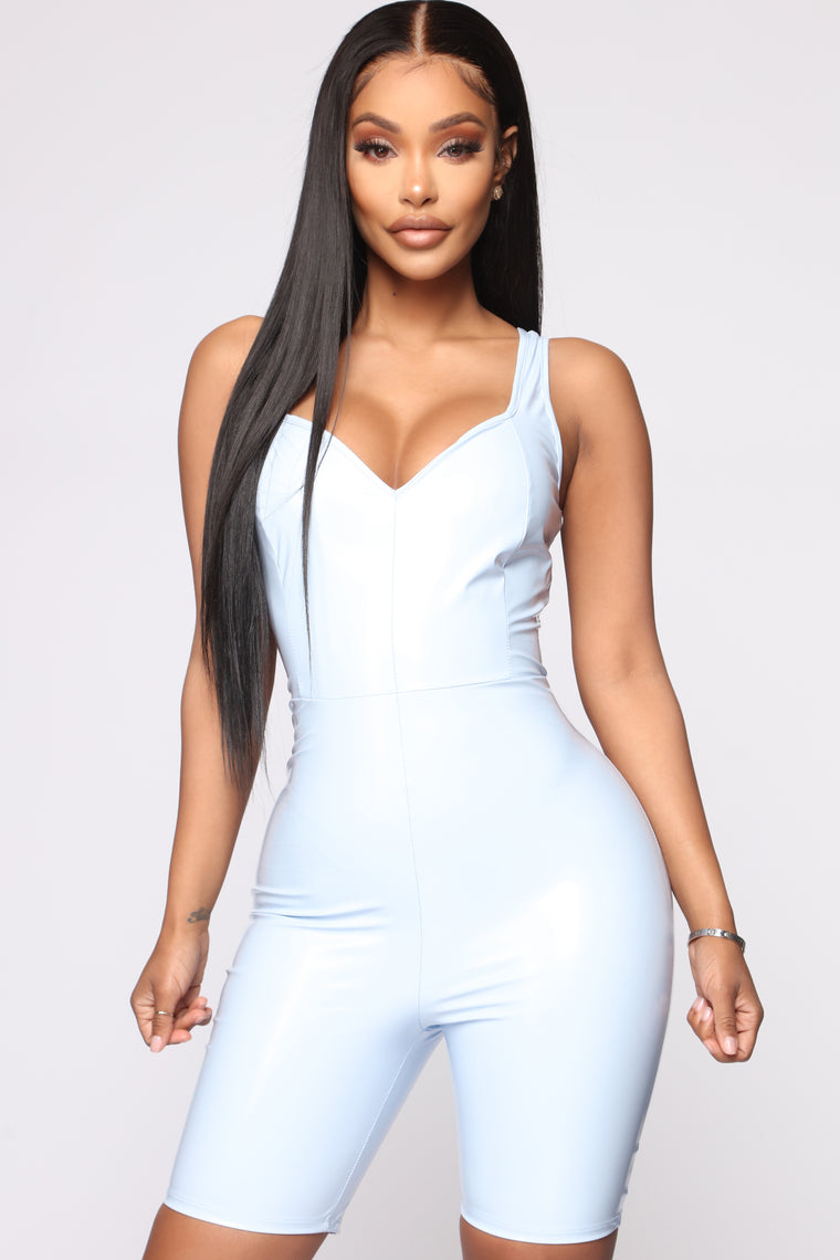 Kristen Latex Romper - Light Blue