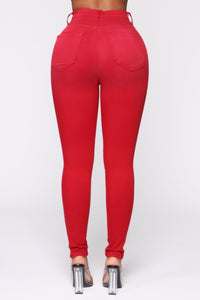 You Oughta Know High Rise Skinny Jeans - Red
