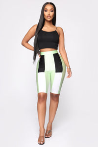How You Like Me Now Biker Shorts - Mint Angle 2