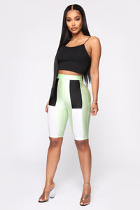 How You Like Me Now Biker Shorts - Mint Angle 4