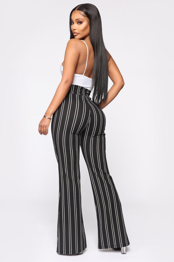 Bottoms New Women Fashion High Waist Wide Leg Pants Stripe Bell-bottom Trousers New Casual Hot Beautiful In Colour