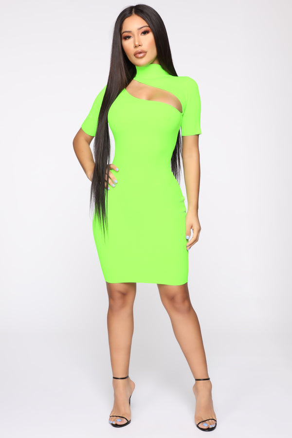 0a75d947adda Loving Every Angle Sweater Mini Dress - Neon Green