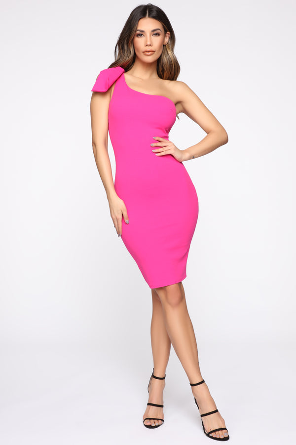 2e416c6a5e43 At My Best One Shoulder Midi Dress - Fuchsia