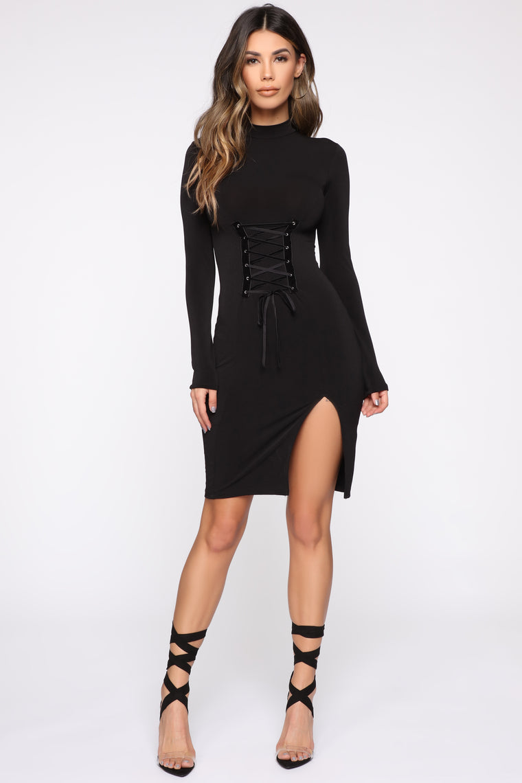 Cairi Lace Up Midi Dress - Black