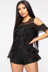 No Effort Embroidered Mesh Romper - Black
