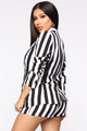 Sariah Striped Blazer Set - Black/White