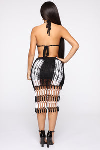 Crochet To Look A Skirt Set - Black/White