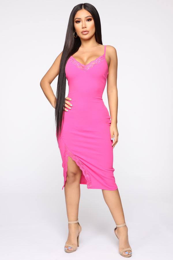 beaed4f8e91 Glad We Met Lace Trim Midi Dress - Hot Pink