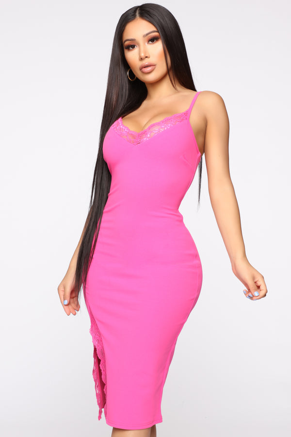 01b2e2825dc3 Glad We Met Lace Trim Midi Dress - Hot Pink