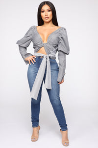 Good Timing Blouse - Charcoal/White
