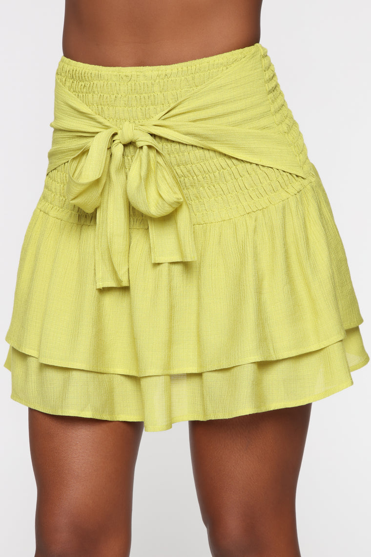 The Girliest Skirt Set - Lime Yellow