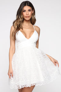 Love Don't Fade Embroidered Dress - White
