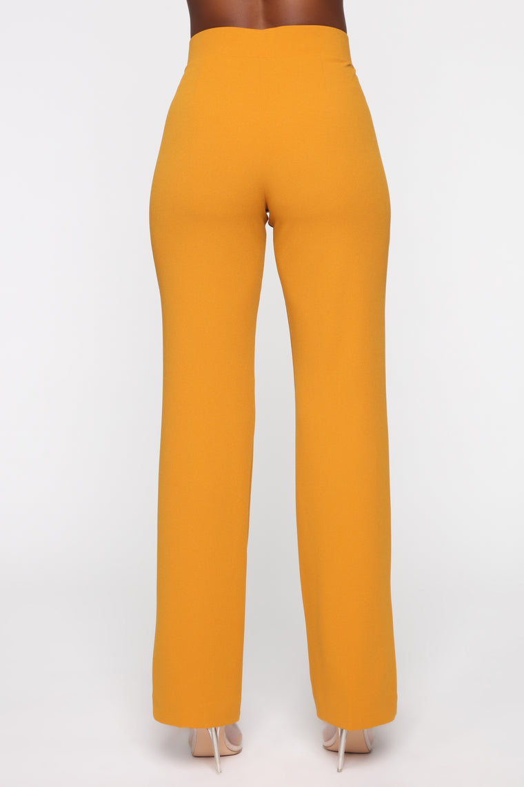 JLo Button Front Wide Leg Pant - Mustard