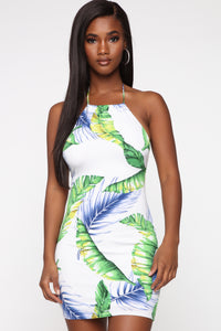 Shop At The Palms Tropical Dress - White/combo