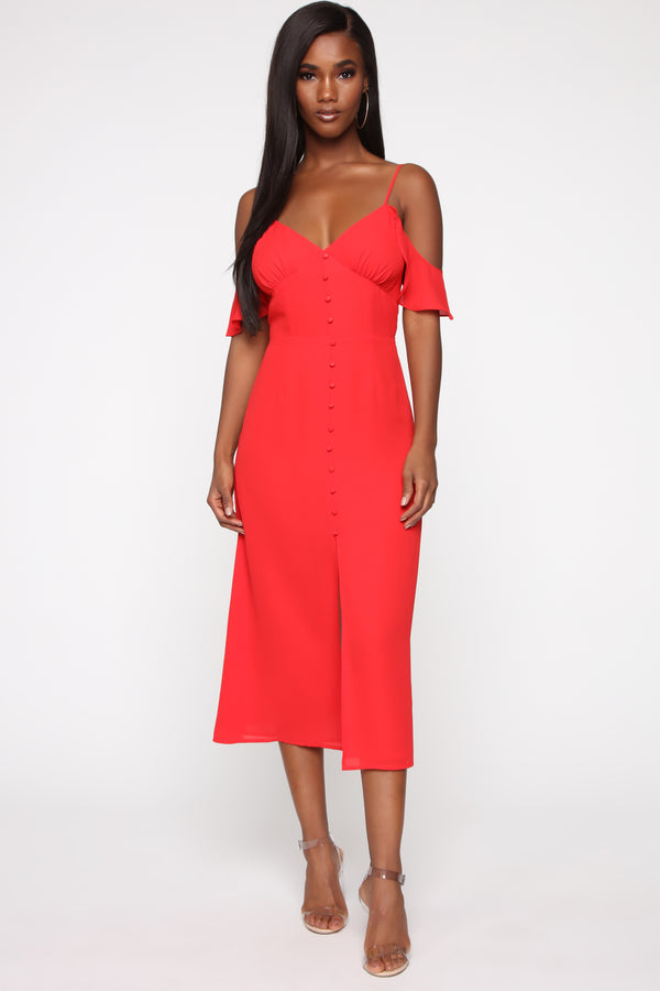 f0d1f92973 Spicy Attitude Cold Shoulder Dress - Red