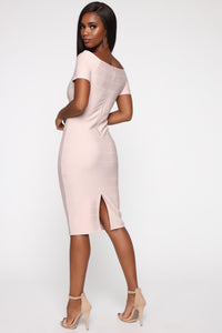 Business Handled Bandage Midi Dress - Nude