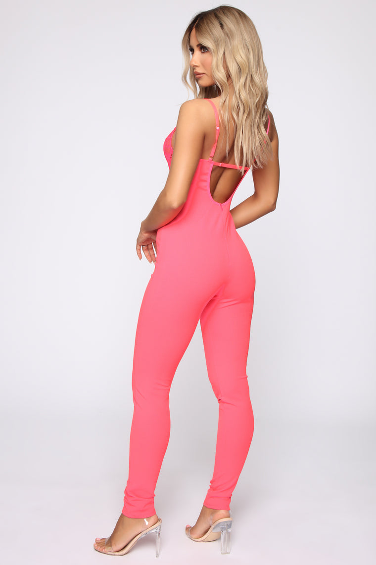9c44061619a Just A Hint Lace Jumpsuit - Neon Pink