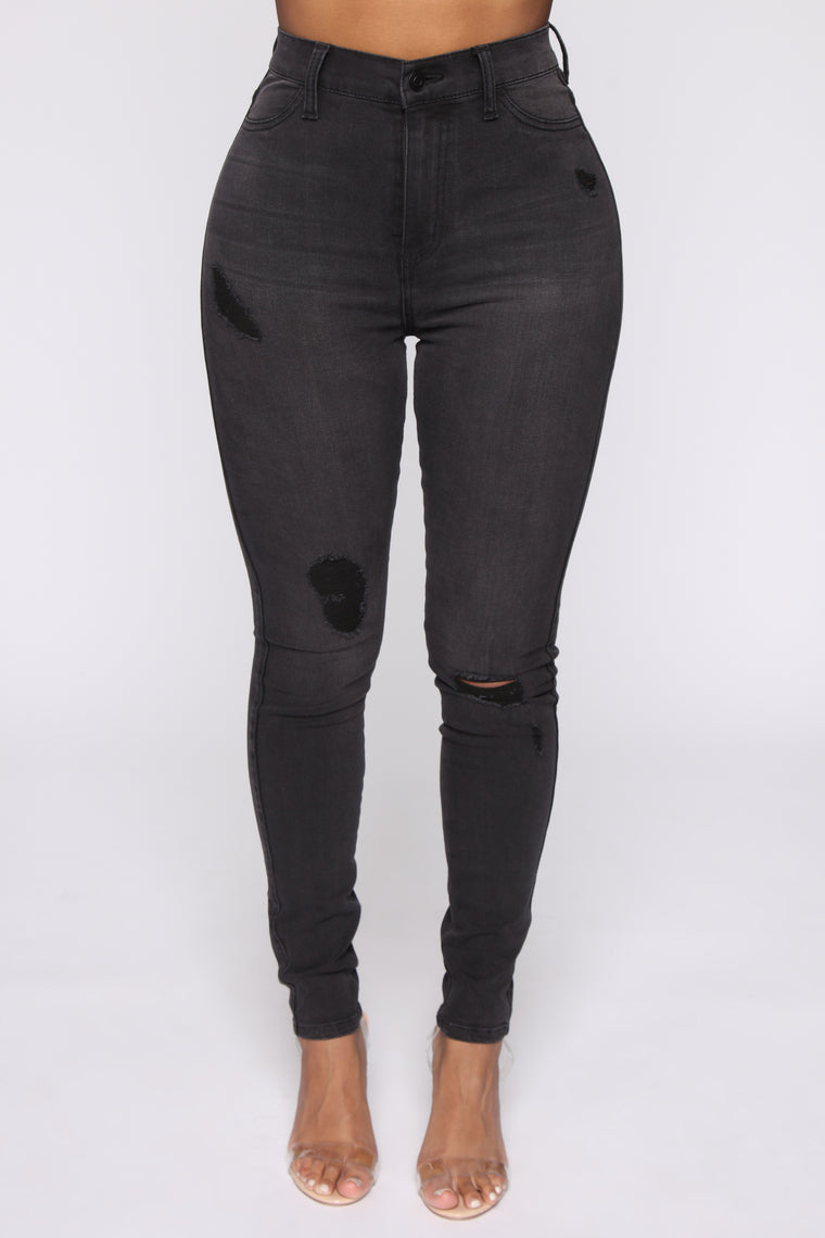 Emma Distressed Super Stretch High Rise Skinny - Grey