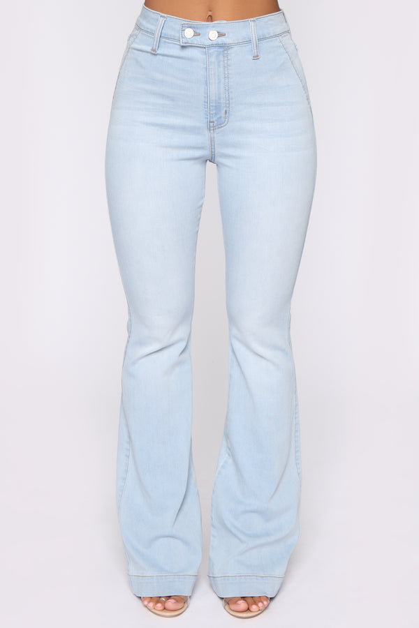 543390ad23c Janelle High Waist Trouser Flare Jean - Light Blue Wash
