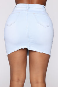 You Go Girl Mini Denim Skirt - Light Blue