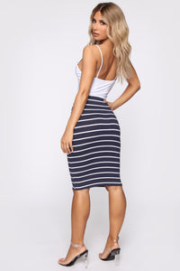 Lets Keep Things Casual Striped Skirt - Navy/White