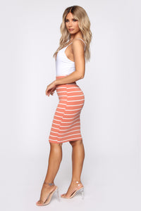 Lets Keep Things Casual Striped Skirt - Rose/White
