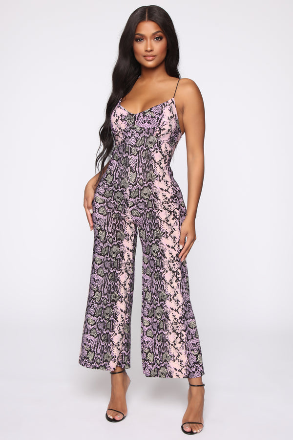 c0400db268 Trust Issues Snakeskin Jumpsuit - Pink Brown