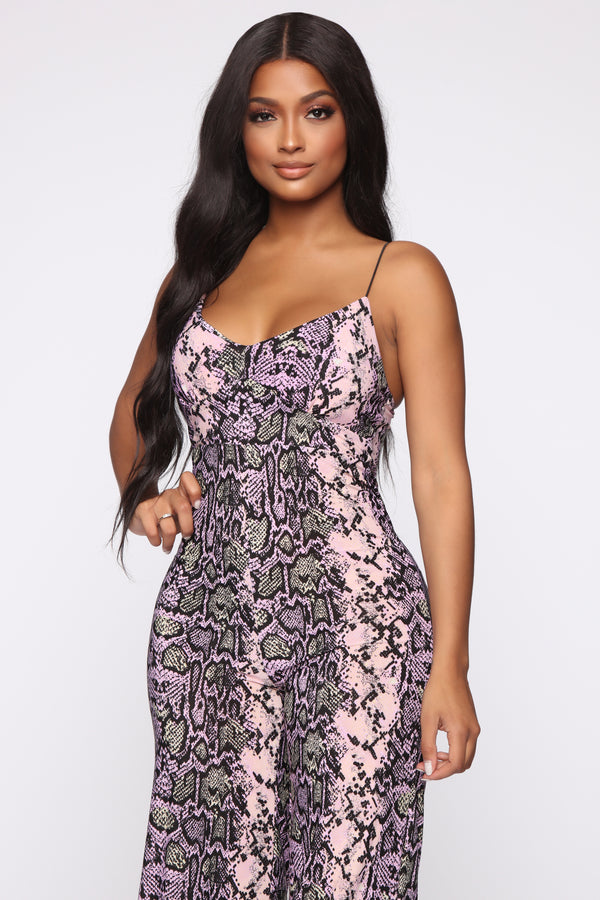 3d5be6dfeb Trust Issues Snakeskin Jumpsuit - Pink Brown
