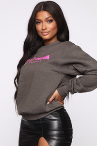 Stole Your Boyfriend's FN Sweatshirt - Charcoal/Fuchsia
