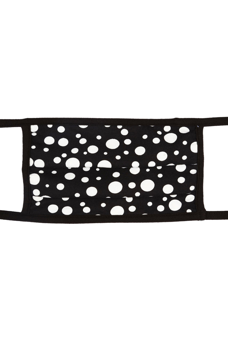 Polka Dot Face Mask - Black/White