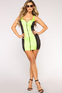 Off Limits Colorblock Dress - Neon Green