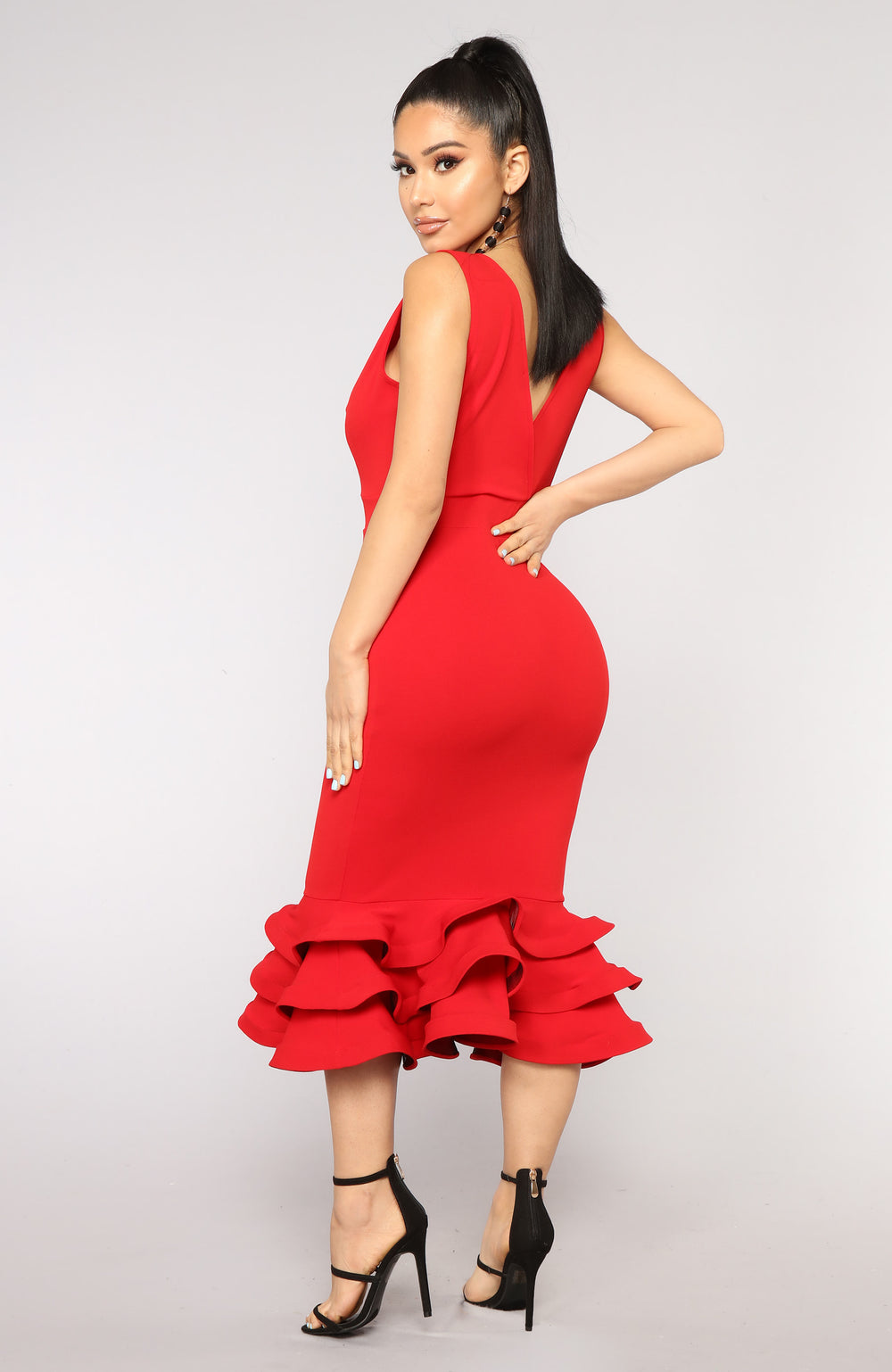 Dates With Babe Ruffle Dress - Red