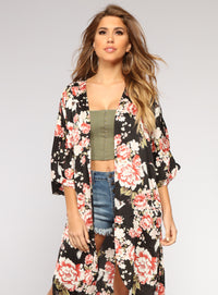 You Can Keep The Roses Kimono - Black