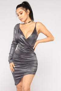 Two Versions Metallic Dress - Charcoal