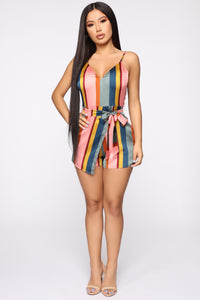 Spread My Wings Satin Skort Romper - Pink/combo