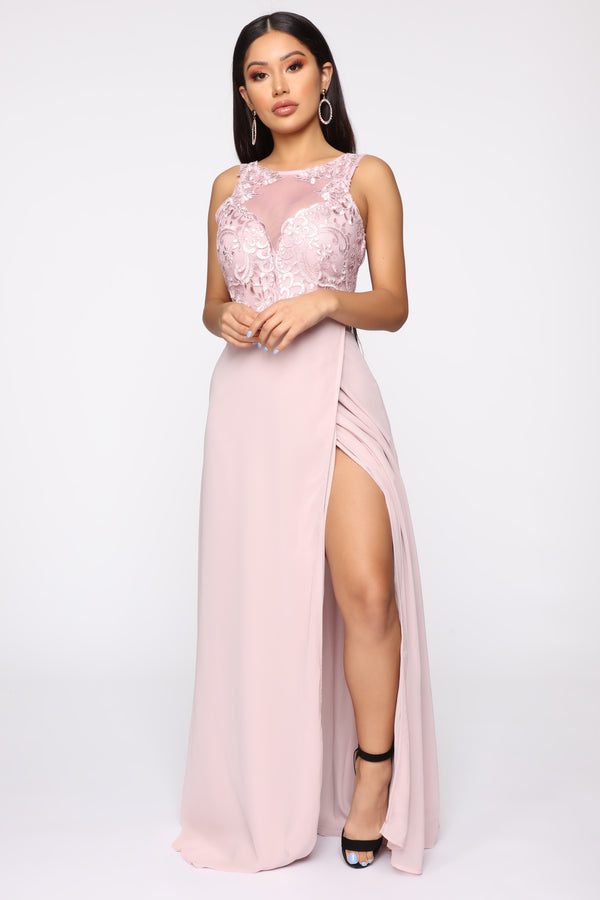 becfe22b8367a Class And Grace Embroidered Gown - Dusty Pink