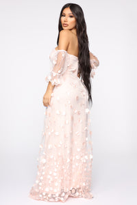 Pretty Flower Mesh Maxi Dress - Blush