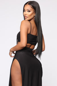 Mariah Slit Skirt Set - Black Angle 7