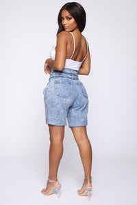 Take It From Me Tie Waist Shorts - Acid Wash