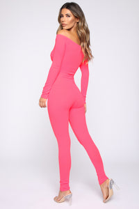 Feeling The Moment Off Shoulder Jumpsuit - Neon Pink