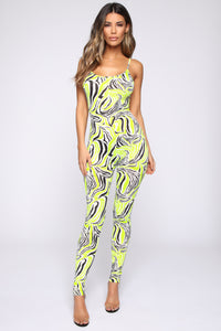 Into The Jungle Jumpsuit - Neon Yellow/Combo