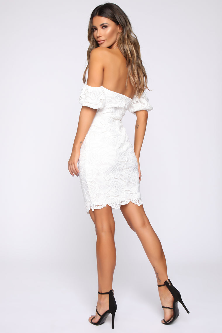 Clementine Crochet Mini Dress - White