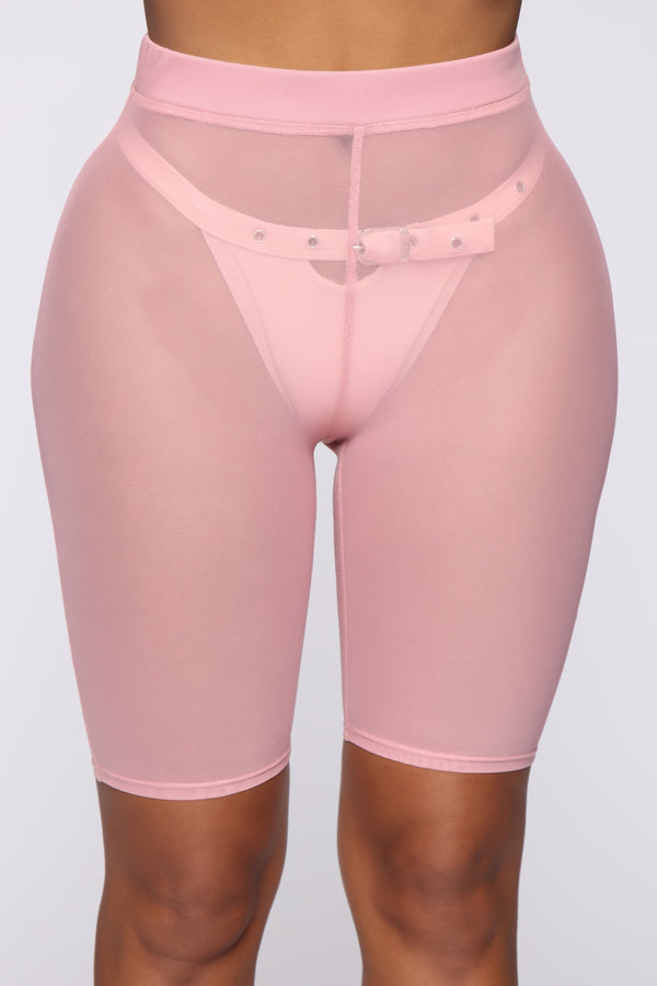 506d90fb91e2 See Me Now Ruched Biker Shorts - Pink