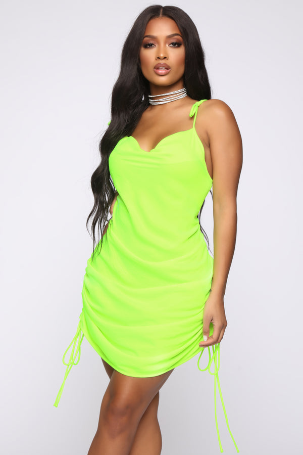 1ca3420818a Come Pull My Strings Mini Dress - Lime