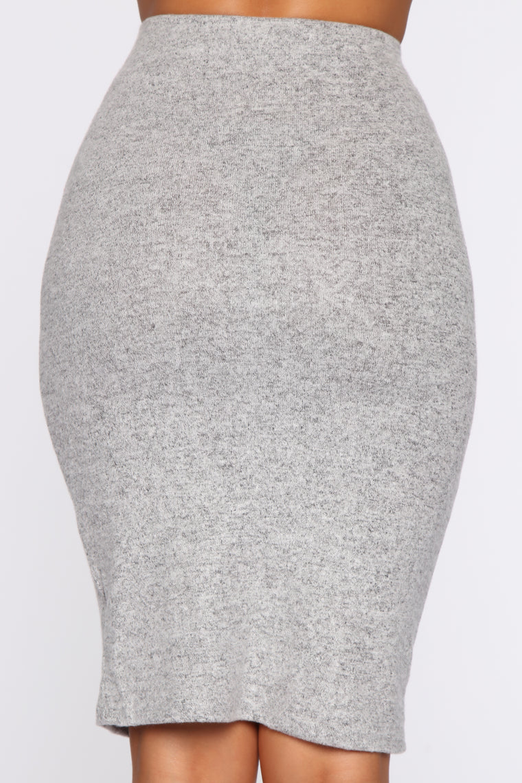 A Simple Thing Midi Skirt - Heather Grey