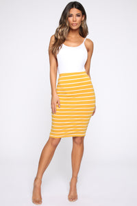 Let's Keep Things Casual Striped Skirt - Mustard/Soft White