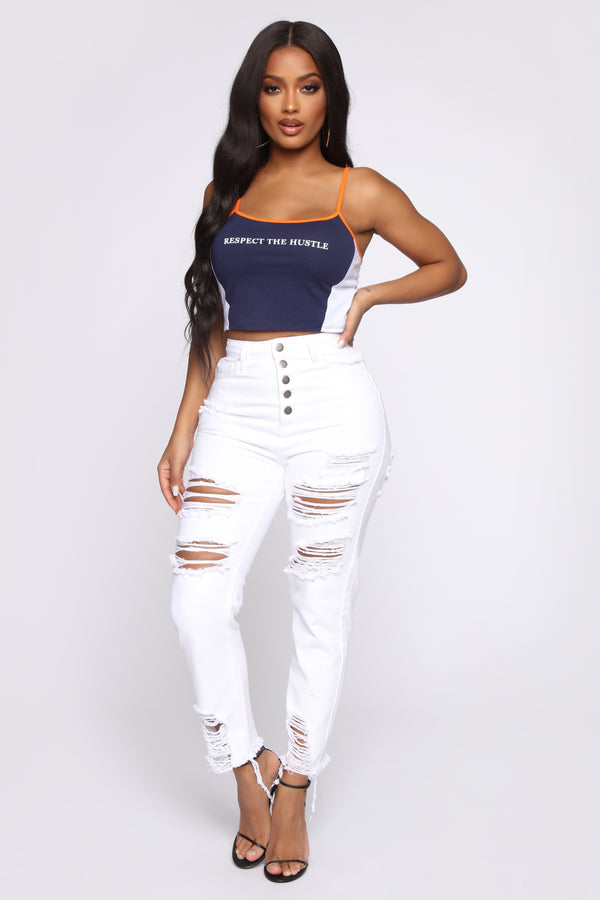 09037a5cd38 You Missed A Button High Rise Jeans - White
